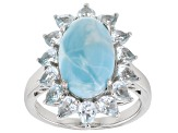 Pre-Owned Blue Larimar Rhodium Over Silver Ring 2.95ctw