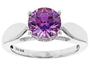 Pre-Owned Swarovski ® Fancy Purple & White Cubic Zirconia Rhodium Over Sterling Silver Ring 3.51ctw