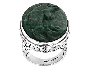 Pre-Owned Green Amazonite Silver Ring