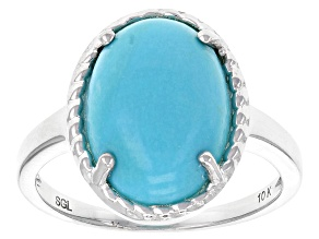 Pre-Owned Blue Sleeping Beauty Turquoise 10k White Gold Ring.