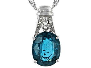 Pre-Owned Blue Chromium Kyanite Rhodium Over Silver Pendant With Chain 3.42ctw