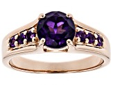 Pre-Owned Purple amethyst 18k rose gold over sterling silver ring 1.26ctw