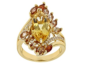 Pre-Owned Yellow Citrine 18k Gold Over Silver Ring 5.15ctw