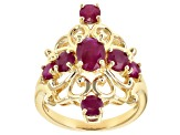 Pre-Owned Red ruby 18k yellow gold over silver ring 2.19ctw