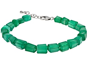 Pre-Owned Green Onyx Sterling Silver Bead Bracelet 55.00ctw