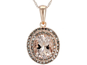 Pre-Owned Pink Morganite 10k Rose Gold Pendant With Chain 1.43ctw