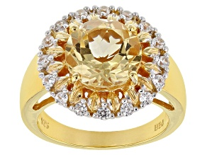 Pre-Owned Yellow citrine 18k gold over silver ring 3.56ctw
