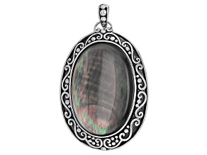Pre-Owned Mother Of Pearl rhodium Over Sterling Silver Pendant