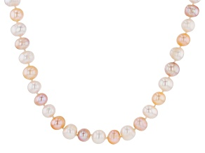 Pre-Owned Multi-Color Cultured Freshwater Pearl Rhodium Over Silver Necklace 10-11mm