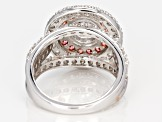 Pre-Owned Swarovski ® Fancy Pink & White Cubic Zirconia Rhodium Over Sterling Silver Ring 7.11ctw