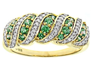 Pre-Owned Swarovski ® Fancy Green White Cubic Zirconia 18K Yellow Gold Over Sterling Silver Ring 1.0