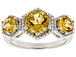 Pre-Owned Yellow Citrine Rhodium Over Silver Ring 1.86ctw