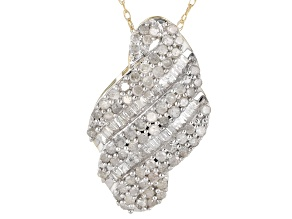 Pre-Owned White Diamond 10K Yellow Gold Pendant .95ctw