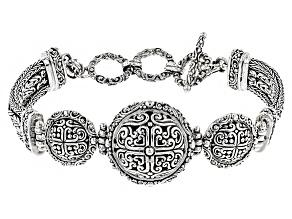 Pre-Owned Sterling Silver Filigree Medallion Bracelet