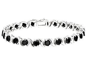 Pre-Owned Black Spinel Sterling Silver Bracelet 10.40ctw