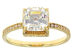 Pre-Owned White Fabulite Strontium Titanate And White Zircon 10k Yellow Gold Ring 3.11ctw