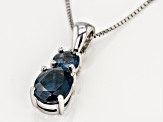 Pre-Owned Blue chromium kyanite rhodium over silver pendant with chain 2.50ctw