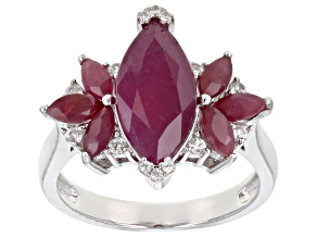 Pre-Owned Red ruby rhodium over silver ring 4.56ctw