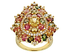 Pre-Owned Multi-tourmaline 18k yellow gold over silver ring 4.81ctw