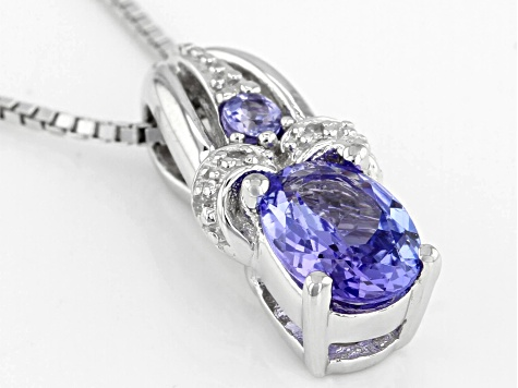 Pre-Owned Blue Tanzanite Rhodium Over Silver Pendant With Chain .68ctw