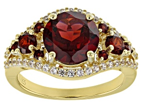 Pre-Owned Red garnet 18k yellow gold over silver ring 3.69ctw