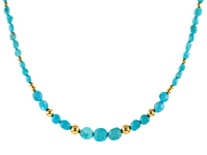Pre-Owned Turquoise Sleeping Beauty Blue 18k Gold Over Silver Necklace