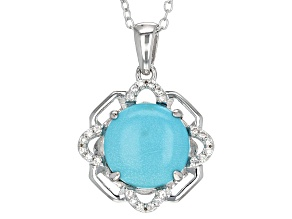 Pre-Owned Blue Sleeping Beauty Turquoise Silver Pendant With Chain .15ctw