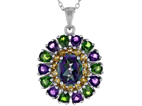 Pre-Owned Multicolor Topaz Rhodium Over Silver Pendant With Chain 3.89ctw