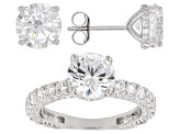Pre-Owned White Cubic Zirconia Rhodium Over Sterling Silver Ring & Earrings Set 12.67ctw