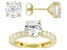 Pre-Owned White Cubic Zirconia 18K Yellow Gold Over Sterling Silver Earrings & Ring Set 12.67ctw