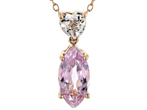 Pre-Owned Pink kunzite 18k rose gold over sterling silver pendant with chain 2.89ctw