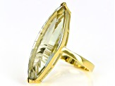 Pre-Owned Green prasiolite 18k gold over silver ring 10.27ct
