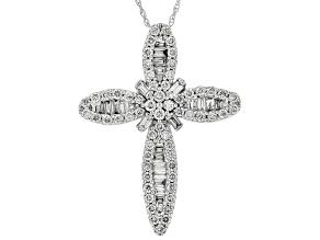 Pre-Owned White Lab-Grown Diamond 14K White Gold Pendant 0.93ctw