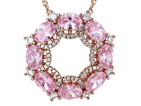 Pre-Owned Pink And White Cubic Zirconia 18k Rg Over Sterling Silver Pendant With Chain 11.14ctw