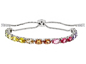 Pre-Owned Multicolor Cubic Zirconia Rhodium Over Sterling Silver Adjustable Bracelet 10.76ctw