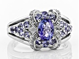 Pre-Owned Blue Tanzanite Rhodium Over Silver Ring 1.27ctw