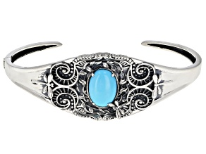 Pre-Owned  Sleeping Beauty Turquoise Rhodium Over Silver Dragonfly Cuff Bracelet