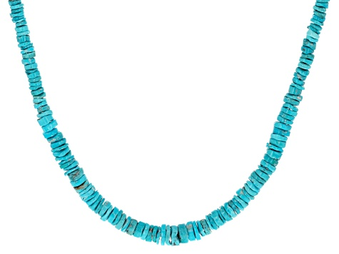 Pre-Owned Sleeping Beauty Turquoise Heshi Bead Silver Necklace