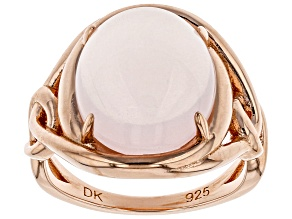 Pre-Owned Pink rose quartz 18k gold over silver ring