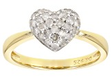 Pre-Owned White Diamond 14K Yellow Gold Over Sterling Silver Ring 0.40ctw