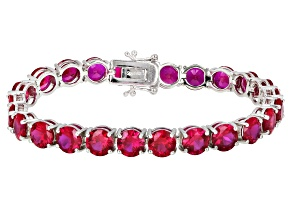 Pre-Owned Red lab created ruby rhodium over silver bracelet 28.96ctw