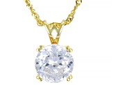 Pre-Owned Cubic Zirconia 18k Yellow Gold Over Silver Pendant With Chain 6.30ctw (3.87ct DEW)