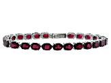 Pre-Owned Oval 19.20ctw  Garnet Rhodium Over Sterling Silver Tennis Bracelet