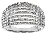 Pre-Owned White Diamond Rhodium Over Sterling Silver Ring .20ctw