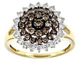Pre-Owned Champagne And White Diamond 10k Yellow Gold Ring 1.00ctw