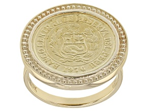 Pre-Owned 10k Yellow Gold And Bronze Coin Ring