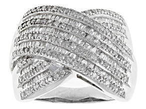 Pre-Owned White Diamond Rhodium Over Sterling Silver Ring 1.00ctw