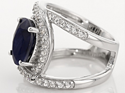Pre-Owned Blue Sapphire Sterling Silver Ring 4.26ctw