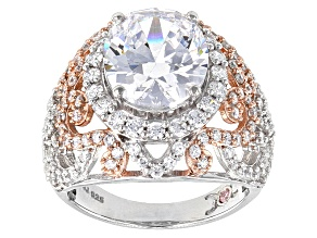 Pre-Owned Cubic Zirconia Silver And 18k Rose Gold Over Silver Ring 10.94ctw (6.73ctw DEW)