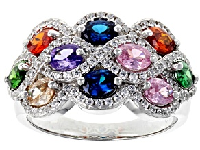 Pre-Owned Multicolor & White Cubic Zirconia Rhodium Over Sterling Silver Cluster Ring 3.44ctw